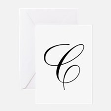 C Initial Black and White Scr Greeting Card