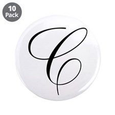 """C Initial Black and White Scr 3.5"""" Button (10 pack"""