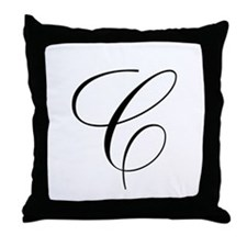 C Initial Black and White Scr Throw Pillow
