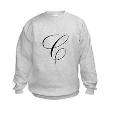 C Initial Black and White Scr Sweatshirt