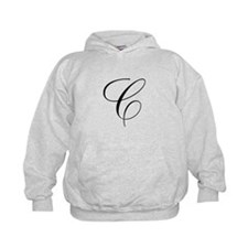 C Initial Black and White Scr Hoodie