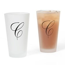 C Initial Black and White Scr Drinking Glass