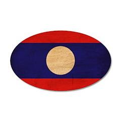 Laos Flag 38.5 x 24.5 Oval Wall Peel