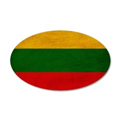 Lithuania Flag 38.5 x 24.5 Oval Wall Peel