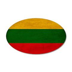 Lithuania Flag 38.5 x 24.5 Oval Wall Peel