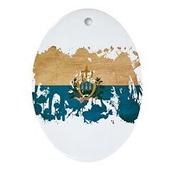 San Marino Flag Ornament (Oval)