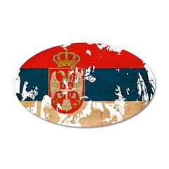Serbia Flag 22x14 Oval Wall Peel