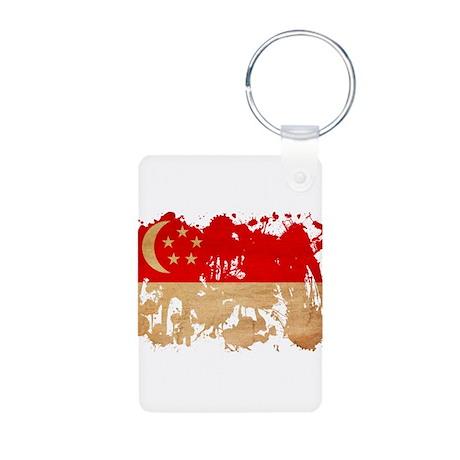 Singapore Flag Aluminum Photo Keychain
