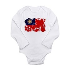 Taiwan Flag Long Sleeve Infant Bodysuit