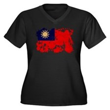 Taiwan Flag Women's Plus Size V-Neck Dark T-Shirt