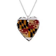 Maryland Flag Necklace Heart Charm