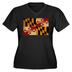 Maryland Flag Women's Plus Size V-Neck Dark T-Shir