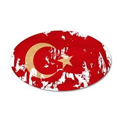 Turkey Flag 22x14 Oval Wall Peel