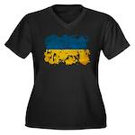 Ukraine Flag Women's Plus Size V-Neck Dark T-Shirt