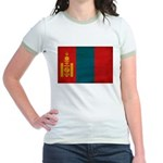 Mongolia Flag Jr. Ringer T-Shirt