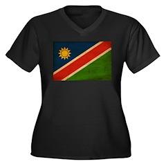Namibia Flag Women's Plus Size V-Neck Dark T-Shirt