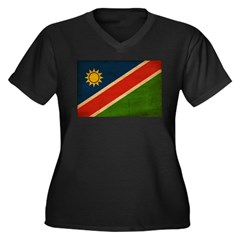Namibia Flag Women's Plus Size V-Neck Dark T-Shirt