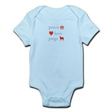 Peace, Love and Pugs Infant Bodysuit