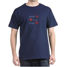 Peace, Love and Pugs T-Shirt
