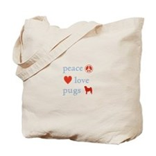 Peace, Love and Pugs Tote Bag
