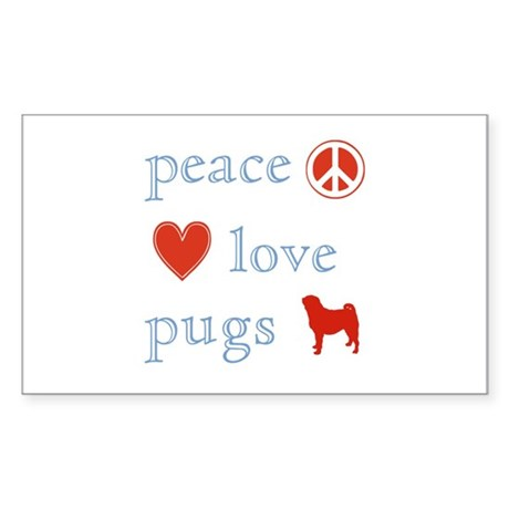 Peace, Love and Pugs Sticker (Rectangle 10 pk)