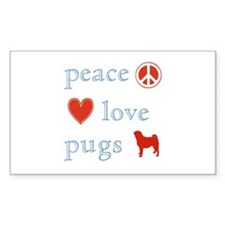 Peace, Love and Pugs Decal
