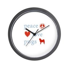 Peace, Love and Pugs Wall Clock
