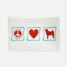 Peace, Love and Pugs Rectangle Magnet