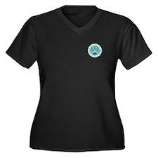 Funny Mia Women's Plus Size V-Neck Dark T-Shirt