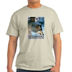 Save The Wolf YNP Large Print Ash Grey T-Shirt