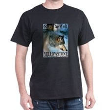 Save The Wolf YNP Large Print Black T-Shirt