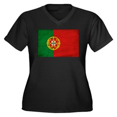 Portugal Flag Women's Plus Size V-Neck Dark T-Shir