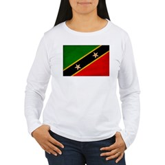 Saint Kitts Nevis Flag Women's Long Sleeve T-Shirt