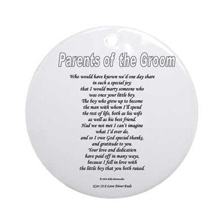 Parents of the Groom Round OrnamentWedding Gift