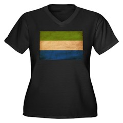 Sierra Leone Flag Women's Plus Size V-Neck Dark T-