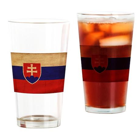 Slovakia Flag Drinking Glass