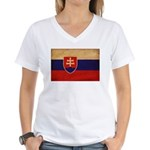 Slovakia Flag Women's V-Neck T-Shirt