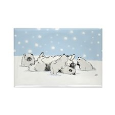 Keesie Snow Dogs Rectangle Magnet