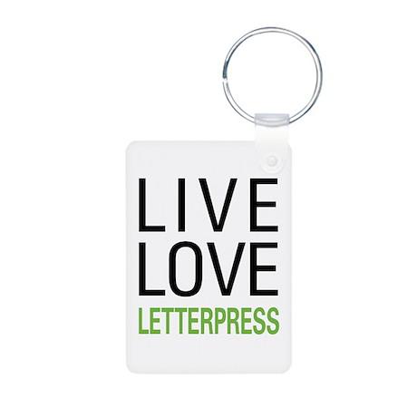 Live Love Letterpress Aluminum Photo Keychain