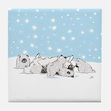 Keesie Snow Dogs Tile Coaster