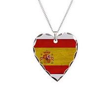 Spain Flag Necklace Heart Charm