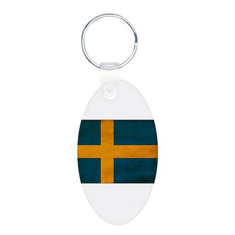 Sweden Flag Aluminum Oval Keychain