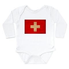 Switzerland Flag Long Sleeve Infant Bodysuit