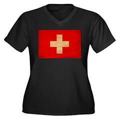 Switzerland Flag Women's Plus Size V-Neck Dark T-S