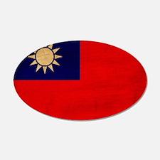 Taiwan Flag 22x14 Oval Wall Peel