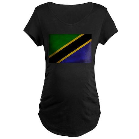 Tanzania Flag Maternity Dark T-Shirt