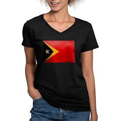 Timor Leste Flag Women's V-Neck Dark T-Shirt