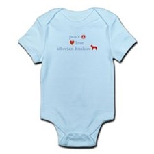 Peace, Love & Siberian Huskies Infant Bodysuit