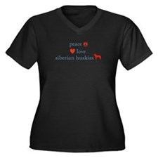 Peace, Love & Siberian Huskies Women's Plus Size V