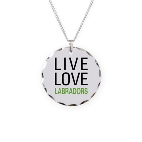 Live Love Labradors Necklace Circle Charm